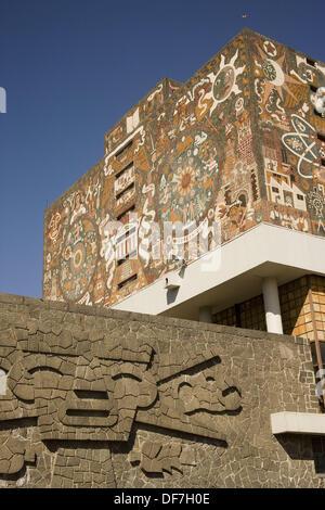 Juan O´Gorman´s mural painting, library of National Autonomous University of Mexico (Spanish: Universidad Nacional - Stock Photo