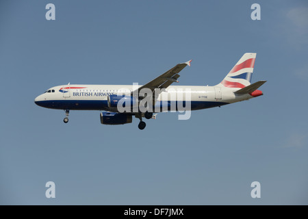 British Airways Airbus A320-200 on final approach - Stock Photo