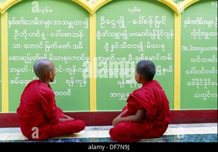 Novice monks. Soon U Ponya Shin Pagoda. Sagaing. Mandalay. Myanmar (Burma). - Stock Photo
