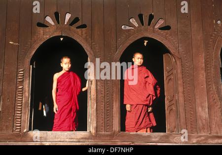 Monks in wood monastery. Inle Lake. Shan State. Myanmar. - Stock Photo