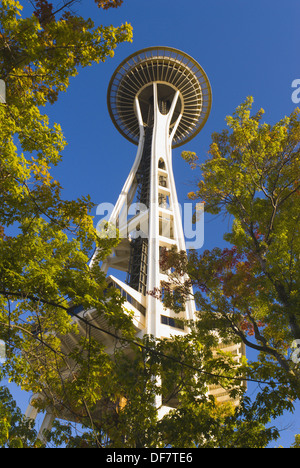 The Space Needle and fall color, Seattle, Washington, USA - Stock Photo