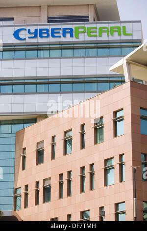 India. Hyderabad. Hi - Tech city. Cyber Pearl building - Stock Photo