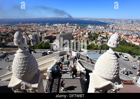 Top view above Marseille from the Notre Dame de la Garde basilica. - Stock Photo