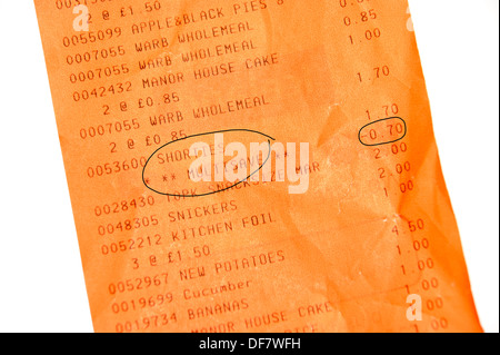 Supermarket shopping bill till receipt showing multisave savings (important in the age of austerity) - Stock Photo