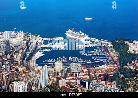 Europe, France, Principality of Monaco, Monte Carlo, Monaco Harbour, Port Hercule. Aerial view. - Stock Photo