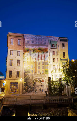 La Fresque Des Quebecois Wall Mural At Night, Notre Dame Street, Old Quebec