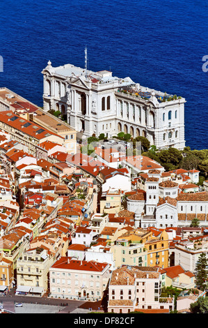 Europe, France, Principality of Monaco, Monte Carlo. The rock and the Oceanographic museum. - Stock Photo