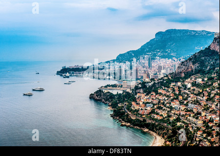 Europe, France, Principality of Monaco, Monte Carlo. Bay of Monaco in the early morning. - Stock Photo
