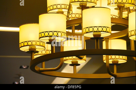 The close view of ceiling lamp at restaurant - Stock Photo