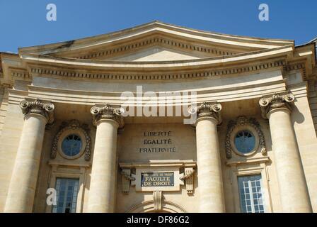 Main entrance to the Law College –Faculte de Droit – in the University of Paris, La Sorbonne. Montparnasse, Paris, - Stock Photo