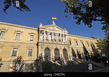 Main façade of the National Library, Madrid. Spain - Stock Photo