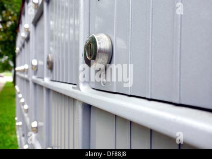 Metal mailboxes in a suburban street outside Toronto, Canada - Stock Photo