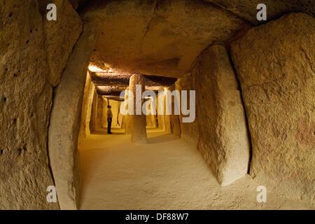 Dolmen de Menga Bronze Age burial mound, Antequera. Malaga province, Andalucia, Spain - Stock Photo
