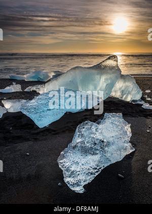 Ice formations from the Jokulsarlon Glacial Lagoon, Breidamerkurjokull Glacier, Vatnajokull Ice Cap, Iceland - Stock Photo