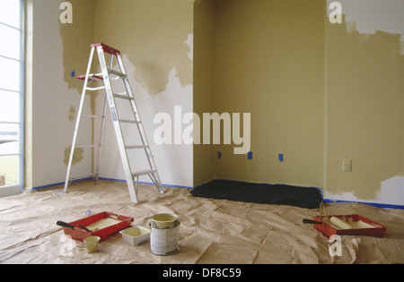 Room in a house being painted - Stock Photo