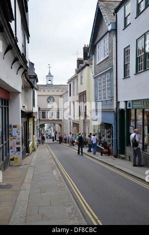 The High Street in Totnes, Devon - Stock Photo