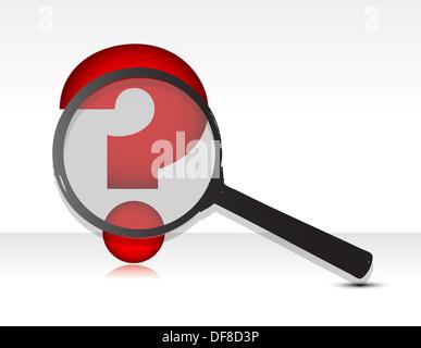 Question mark under magnifier glass illustration design - Stock Photo