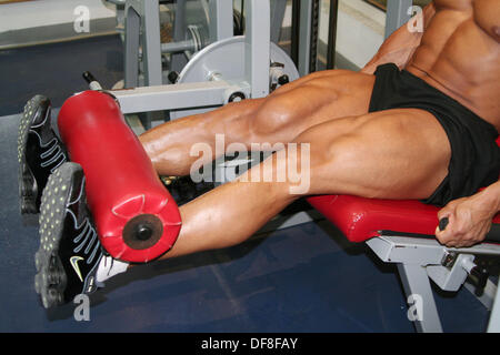 2004 Mr. Universe doing leg curls in training, Abu Dhabi, United Arab Emirates. - Stock Photo