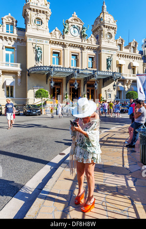 Europe, France, Principality of Monaco, Monte Carlo. Front of casino. - Stock Photo