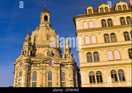 Frauenkirche church and the Neumarkt New Market district, Dresden, Saxony, Germany - Stock Photo