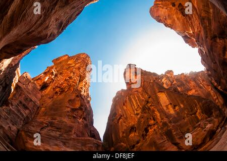 The Siq a 1200 meter long gorge in the Petra archaeological site a UNESCO world heritage site, Jordan - Stock Photo