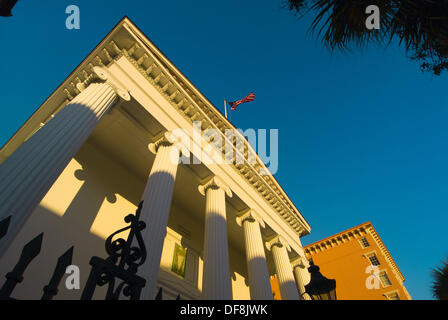 Hibernian Hall on Meeting Street in the historic district of Charleston, South Carolina - Stock Photo