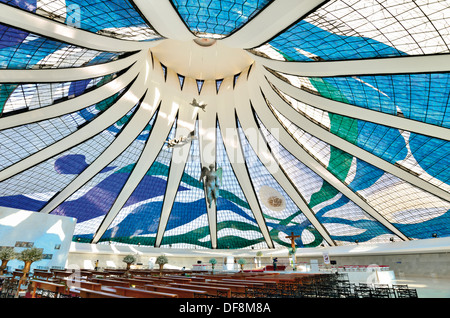 Brazil, Brasilia: Inside view of the glass and concrete construction of the Cathedral Nossa Senhora da Aparecida - Stock Photo
