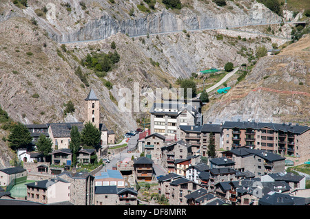 People in Andorra La Vella Canillo where there are houses on the mountain - Stock Photo
