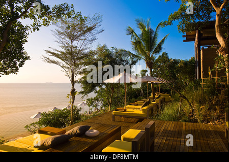Infinity Pool, Six Senses Hideaway resort hotel, Koh Samui island, Gulf of Thailand, Thailand - Stock Photo