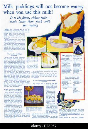 Original 1920s advertisement advertising LIBBY'S EVAPORATED MILK, consumer magazine advert circa 1924 - Stock Photo