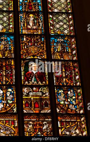 Stained glass window featuring Johann Sebastian Bach´s, St  Thomas Church Thomaskirche, Leipzig, Saxony, Germany - Stock Photo