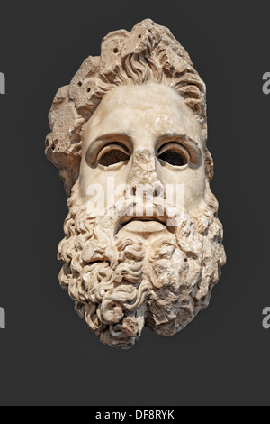 Marble colossal head of Zeus (150 B.C.) in National Museum, Greece - Stock Photo