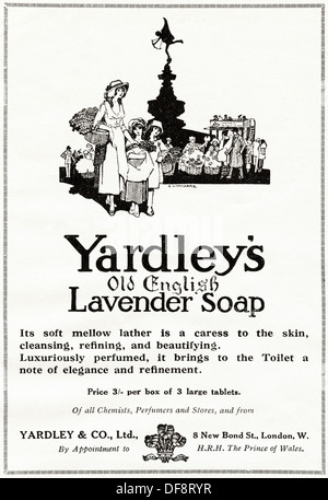 Original 1920s advertisement advertising YARDLEY'S OLD ENGLISH LAVENDER SOAP, consumer magazine advert circa 1924 - Stock Photo