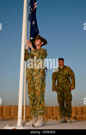 Tarin Kot, Afghanistan. 29th Sep, 2013. Royal Australian Air Force Warrant Officer Jennine Riches and Sgt. Chris - Stock Photo