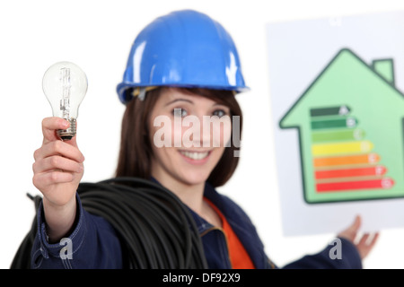 Woman holding energy rating poster and light bulb - Stock Photo