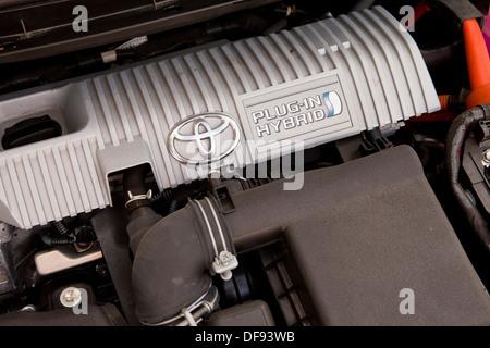 Toyota Prius hybrid engine compartment - Stock Photo