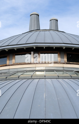 The Round Studio of Aberystwyth Arts Centre, which looks uncannily like a flying saucer, basks in the September - Stock Photo