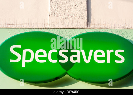 Sign above Specsavers opticians high street store. - Stock Photo