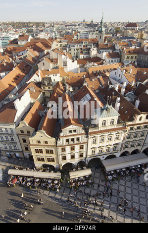 Vista aerea de la Ciudad Vieja de Praga; Republica Checa - Stock Photo