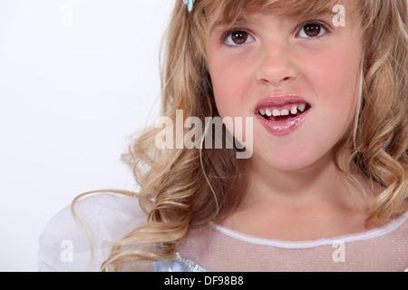 little girl dressed like a princess - Stock Photo