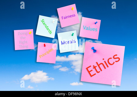 Ethics Concept - notes pinned to a blue sky, ethics,morals,values,fairness,standards,principles,doing the right - Stock Photo