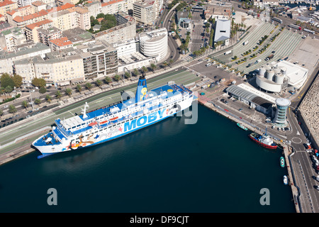 FERRYBOAT BEING LOADED (aerial view). Saint-Nicolas Port, Bastia, Corsica, France. - Stock Photo