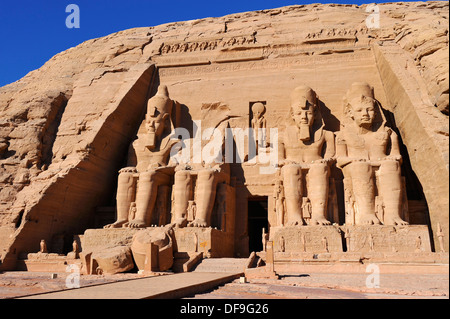 Great Temple of Ramesses II at Abu Simbel, Upper Egypt - Stock Photo
