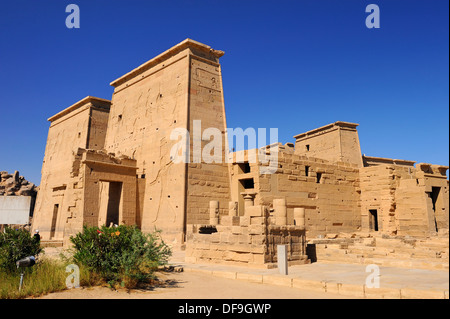 Temple of Isis at Philae Island - Aswan, Upper Egypt - Stock Photo