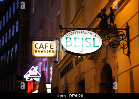 Cafe and restaurant signs, Cafe Hawelka,  Vienna, Austria, Europe - Stock Photo