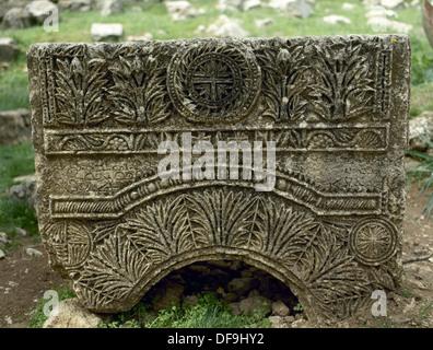 Basilica of Saint Simeon Stylites. 5th century. Sculptural detail. Relief. Near Aleppo. Syria. - Stock Photo