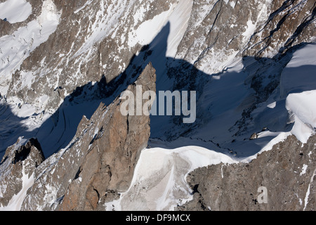 DENT DU GÉANT (altitude: 4013 meters, prominence: 139 meters) (aerial view). Chamonix Mont-Blanc, France and Courmayeur, - Stock Photo