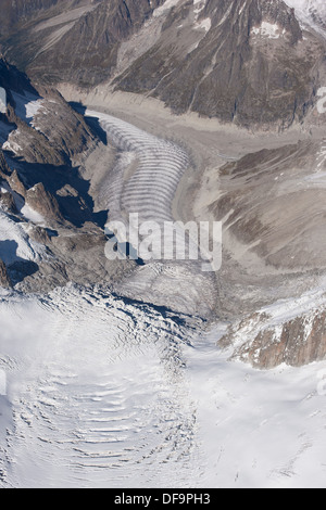 TACUL & MER DE GLACE GLACIERS (aerial view). Forbes bands (or ogives) visible on Mer de Glace. Chamonix Mont-Blanc, - Stock Photo