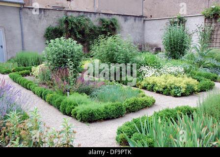 Garden in the grounds of Schengen Castle, Luxemburg, Europe. - Stock Photo