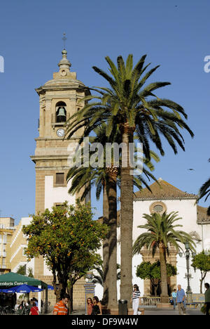 Plaza Alta and Nuestra Señora de la Palma church. Algeciras. Cádiz province. Spain - Stock Photo
